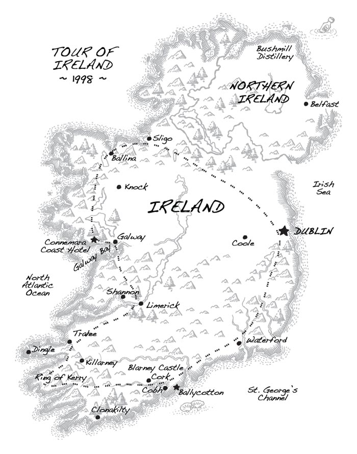 Map of Ireland showing the travels of Annie and Noel.