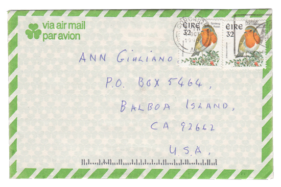 """In October 1998, I stopped by the Balboa Island post office to pick up my mail, including this mysterious envelope postmarked """"Corcaigh, Eire."""""""
