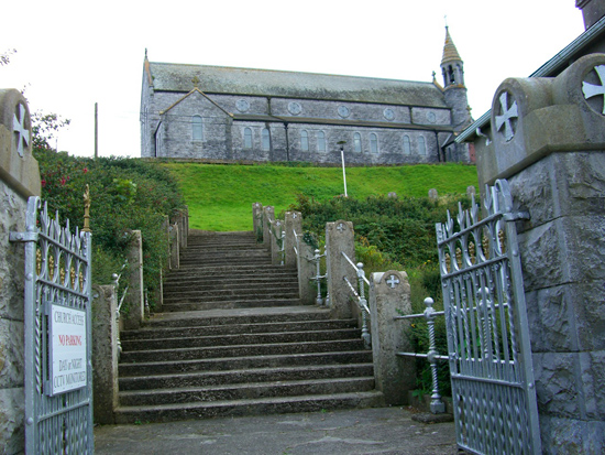 Star of the Sea Church sits on a hill overlooking the fishing village of Ballycotton.