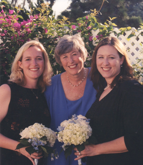 August 30, 2002. Wendy, the happy bride (me), and Heather after I became Mrs. Noel Quinn.