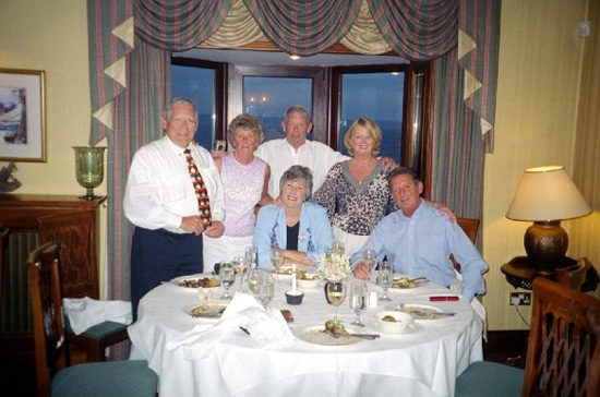 With Kay and George Quinn and Therese and Mick Quin at the Bayview Hotel, one of our favorite places to dine in Ballycotton, 2003.