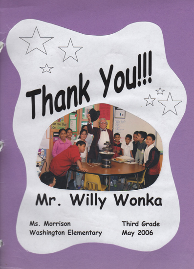 May 2006. Noel was a natural as Willy Wonka. I had missed Noel's stage performances of his early twenties but got to see how he evolved into a character during the years he appeared as Willy Wonka for the children of Washington Elementary School in Santa Ana.