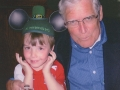 March 17, 2008. Celebrating St. Patrick's Day. Noel with Johnathan wearing his hat from Disneyland.