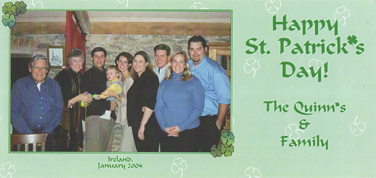 The St. Patrick's Day card we sent in 2004 became a tradition, one we still celebrate.