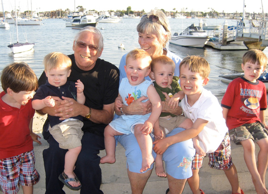 April 2008. After Noel's diagnosis, we rented a house on Balboa Island, so visiting family and friends would have plenty of room. On the seawall with the grandsons.
