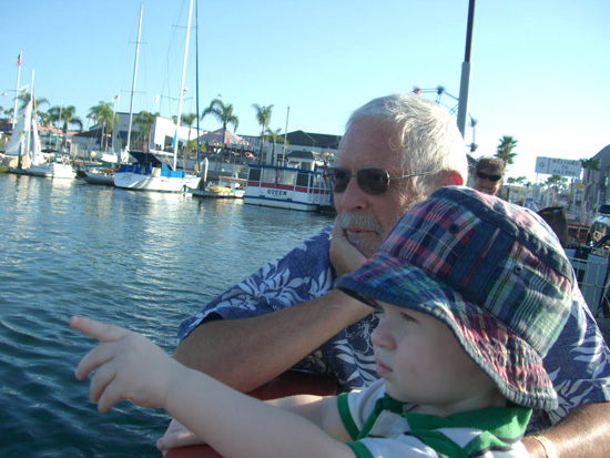 Noel and Declan ride the Balboa Island Ferry, 2008.