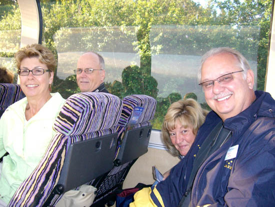 We loved traveling with the Bovards and the Kilgores. Here Joan and Ken Bovard (left) and Gary and Yvette Kilgore on our way to Denali National Park in Alaska.